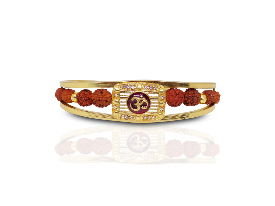 Periapt Gold Plated American Diamond Om Sun Cuff Bracelet /  Rudraksha Kada for Men