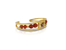 Load image into Gallery viewer, Periapt Gold Plated American Diamond Om Sun Cuff Bracelet /  Rudraksha Kada for Men