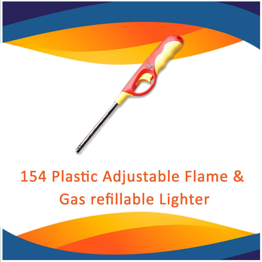 0154 Plastic Adjustable Flame & Gas refillable Lighter (Multicolour)