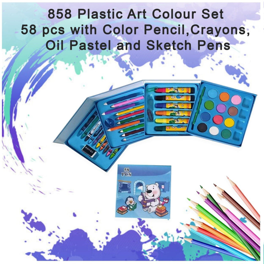 0858 Plastic Art Colour Set 58 pcs with Color Pencil, Crayons, Oil Pastel and Sketch Pens