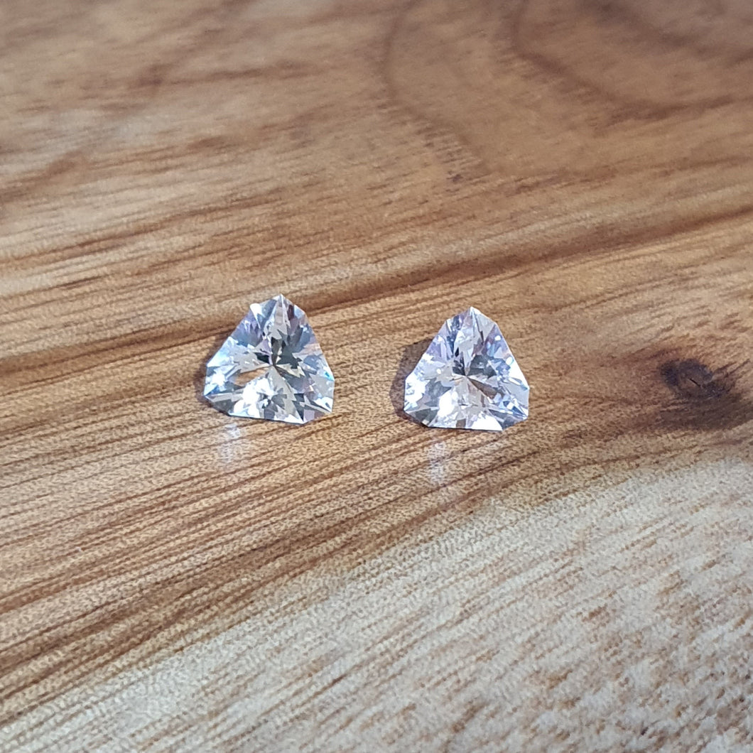#65,66 Morganite trilliant pair, 1.2cts each