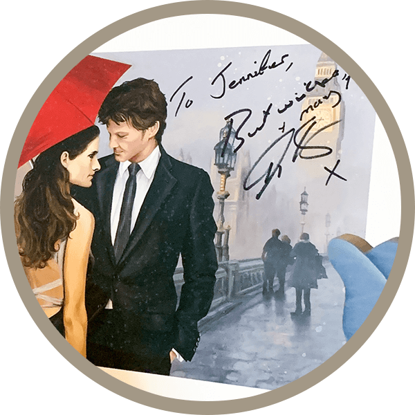 Signed painting that Jen did of Colin Firth