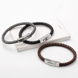 Ohiru Leather & Stainless Steel Mens Bracelet - Mygiavelle