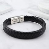Vienna Leather & Stainless Steel Mens Bracelet