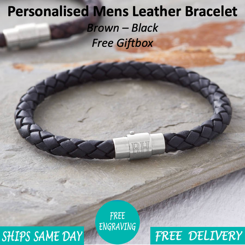 Steel Initials Leather Bracelet - Mygiavelle
