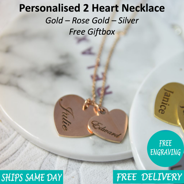 2 Heart Necklace - Mygiavelle