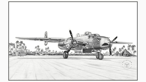 The North American B-25 Mitchell was classified as a twin engine medium bomber and named in honor of General Billy Mitchell, a pioneer of U.S. military aviation and was first flown in the late 1930's. The B-25 served admirably in all theaters of operation throughout WWII but the majority of B-25's flew in the Pacific Theater.
