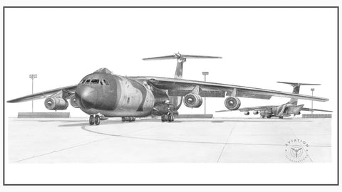 The Lockheed C-141 Starlifter was a heavy lift military airlifter flown exclusively with the U.S. Air Force with the exception of one C-141 being flown by NASA. It was designed to replace the C-124 Globemaster, a slow piston engine aircraft. It first flew in 1963 with production deliveries beginning in 1965.