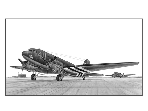 The C-47 Skytrain is the military version of a modified Douglas DC-3 commercial airliner. The C-47's first flight was in December of 1941 with over 10,000 aircraft being assembled. Its primary mission was to transport troops, cargo, and the wounded. While C-47's flew in all theaters of operation, the Pacific Campaign is where their range and cargo carrying made them an invaluable asset.