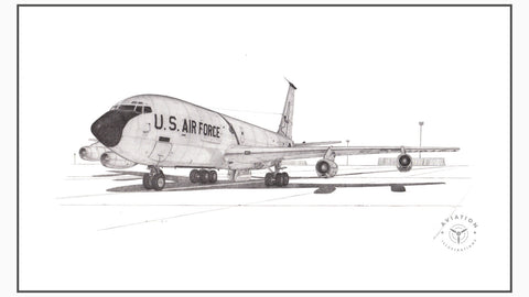 The Boeing KC-135 Stratotanker was developed as a replacement to the KC-97. The U.S. Air Force needed a jet tanker to be able to refuel its new fleet of B-52 Jet Bombers. Its first flight was in 1956 and entered service in 1957. The KC-135 is similar in appearance to its sibling, the Boeing 707 Airliner, however, it is slightly narrower and shorter than the 707.