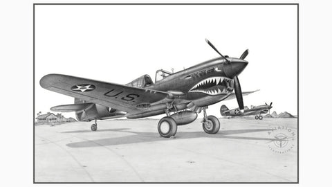 The Curtiss P-40 first flew in 1938, being a modification of the Curtiss P-36 Hawk. It was the third most produced American Fighter after the P-47 and the P-51. The Warhawk flew with most Allied Air Forces in every theater of operations from the Aleutian Islands to North Africa and the South Pacific.