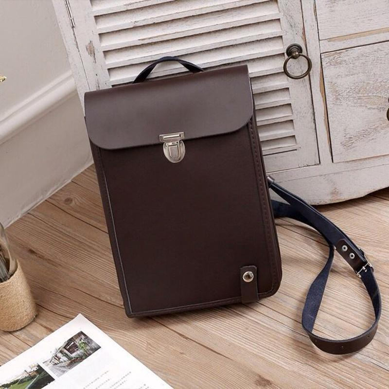 Vertical Briefcase Cowhide Leather Crossbody Bag Handlebag
