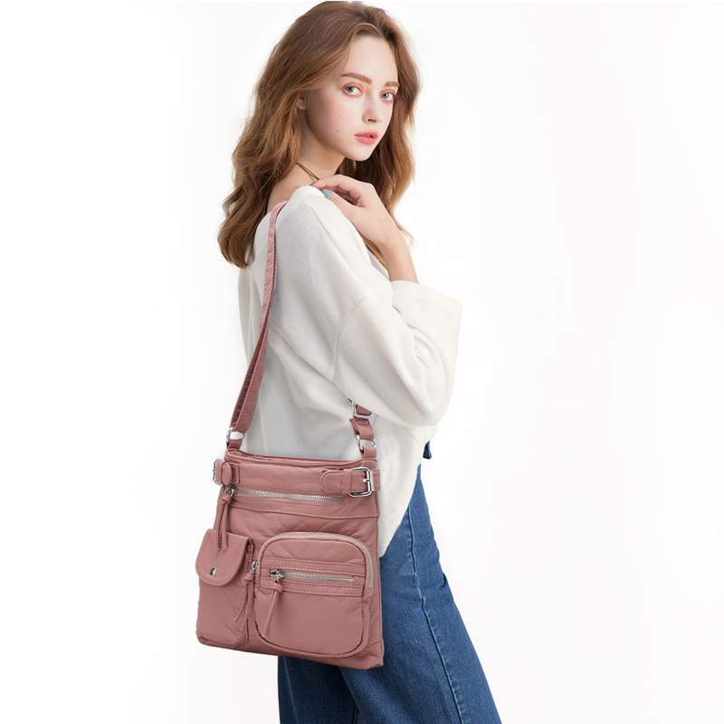 Soft Leather Multi-Pocket Crossbody Purse Bag