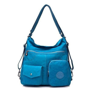 Sea blue convertible backpack purse