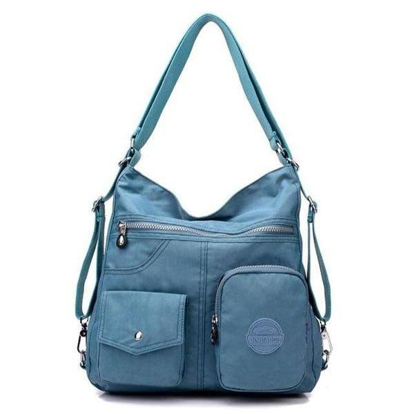 Blue gray convertible backpack purse