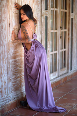Sexy Evening Lavender Gown with Cutout