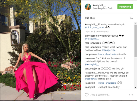 Kasey Hill in LA wearing Hot Pink Maxi Summer Dress