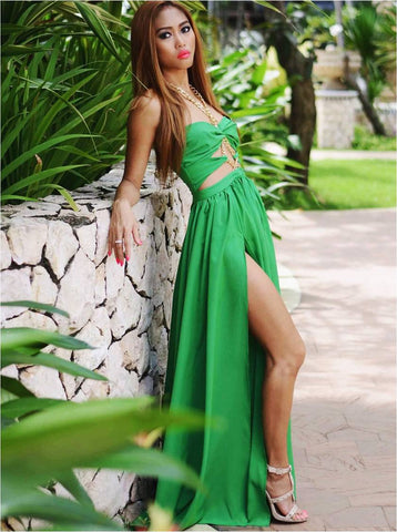 Long Summer Maxi Dress in Green with Gold Chain Detailing Side View