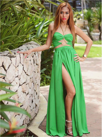 Long Summer Maxi Dress in Green with Gold Chain Detailing