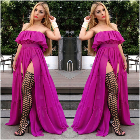 Purple Long Summer Maxi Dress
