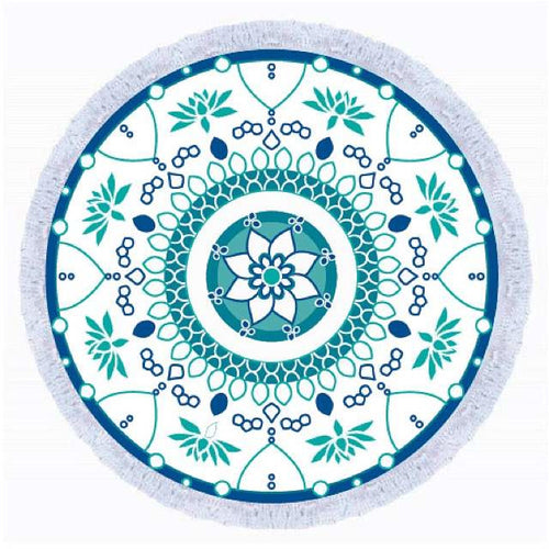 Hanalei Green & Blue Round Beach Towel
