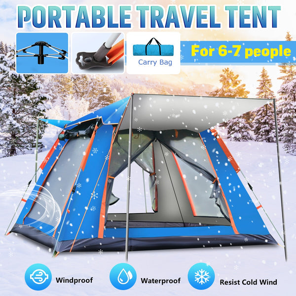 6-7 People Throw Tent Outdoor Automatic Tents Double Layer Family Tents - Lightupmyheart