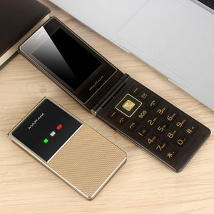 Extra Slim Light Flip Cellphone Dual Display Fast Dial Large Key Black List No FM Folder Senior Mobile Phone - Online Tronic