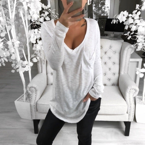 2019 Amazon wish women's fashion hot spring sexy V-neck loose pocket foreign trade leisure long sleeve bottomed T-shirt
