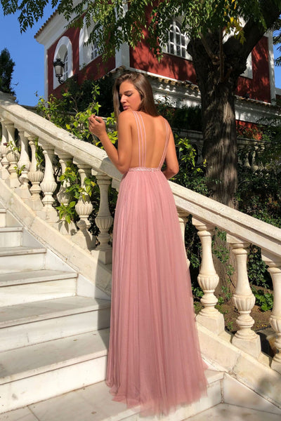 2019 European and American new foreign trade dress eBay sexy deep V sleeveless suspender dress open back long skirt