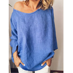 Cotton hemp solid loose-colored top T-shirt