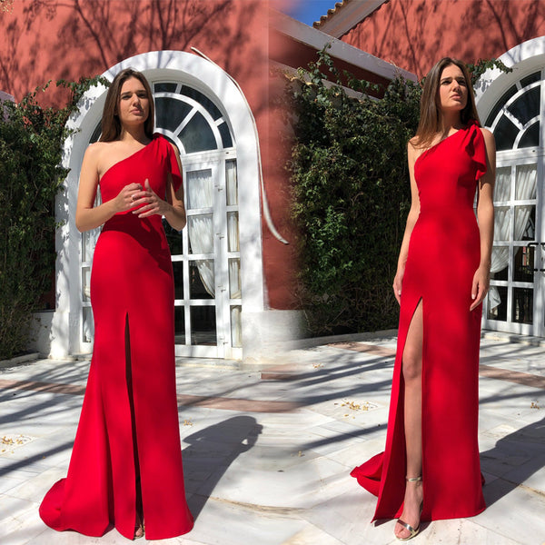 2019 European and American summer foreign trade new women's dress wish Amazon one shoulder sleeveless dress split dress