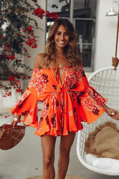 2019 Europe and the United States foreign trade new women's dress wish Dunhuang one neck long sleeve Printed Dress Skirt