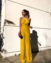 2019 European and American foreign trade new women's jumpsuit wish Dunhuang sleeveless neck slim jumpsuit