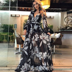 2019 Europe and the United States foreign trade new women's dress wish Amazon sexy deep V long-sleeved printed long skirt