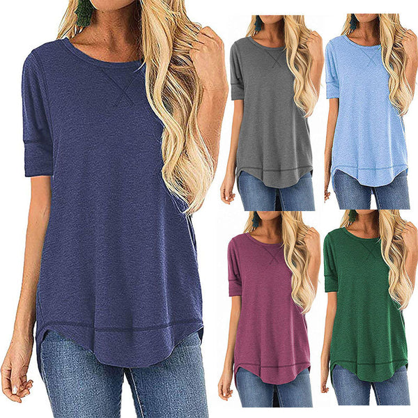 Solid round neck European and American women's wear