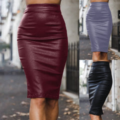 2020 European and American ebay spring and summer skirt cross-border women's clothing supply tri-color plus velvet comfortable PU bag hip skirt