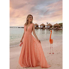 2020 summer new European and American foreign trade women's Amazon deep V sexy lace vacation dress long skirt new