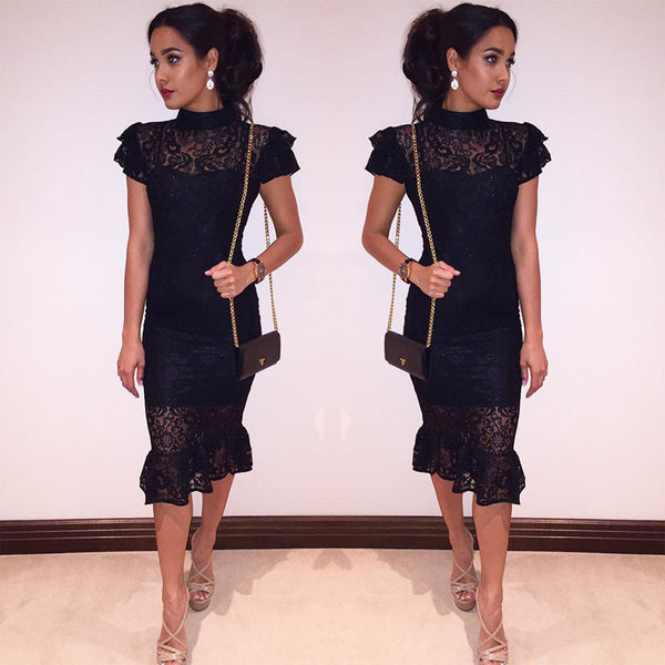 2019 European and American foreign trade new women's dress wish Amazon sexy lace perspective pencil skirt