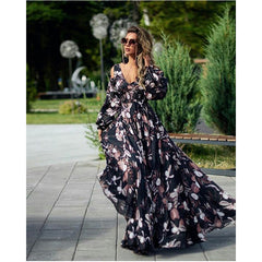 In the summer of 2020, the new European and American foreign trade women's ebay deep V strapless long sleeve printing big swing dress long skirt new