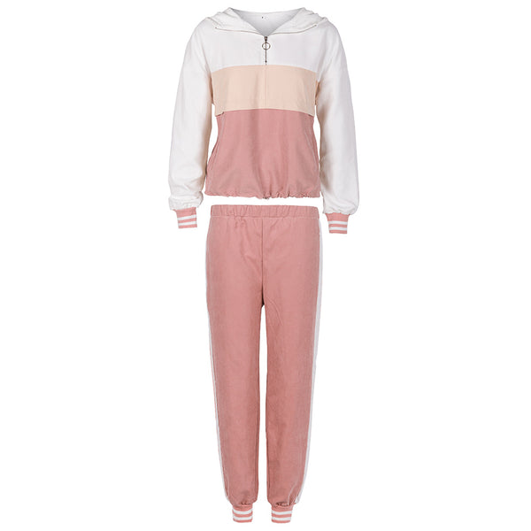 Color matching fashion sweater suit leisure sports suit
