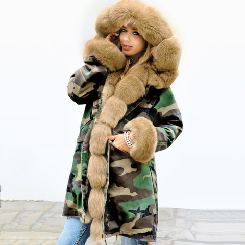 Plush warm thickened medium length cotton padded jacket European and American wool collar coat large size winter coat