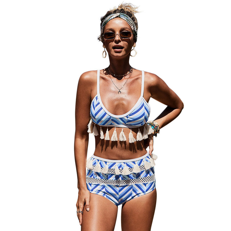 European and American sexy pool party retsu triangle high-waisted printed split swimsuit