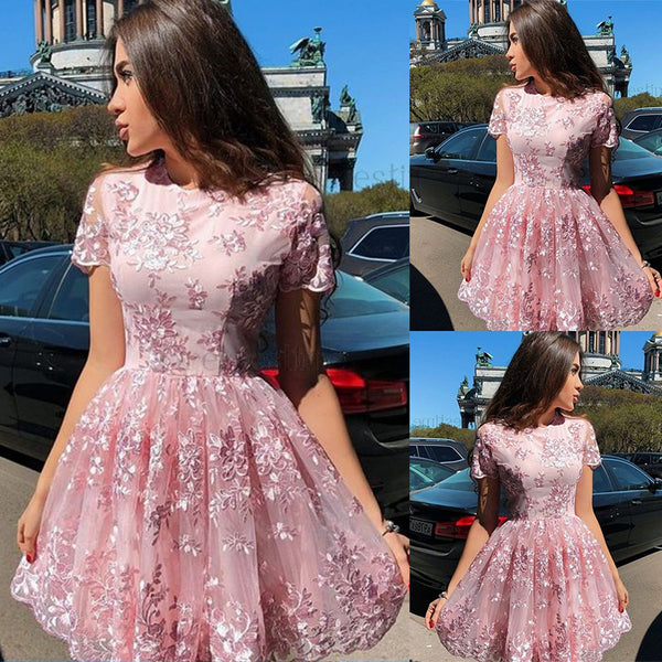 2019 European and American foreign trade new women's dress eBay express round neck short sleeve lace dress