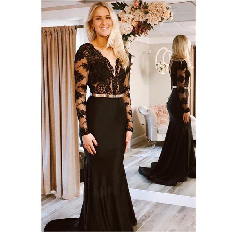 The new cross-border women's cross-border new eBay deep V long-sleeved see lace backless banquet dress in autumn 2020