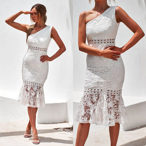 2019 Europe and the United States foreign trade new women's wish Dunhuang sloping shoulder sleeveless lace pencil skirt skirt