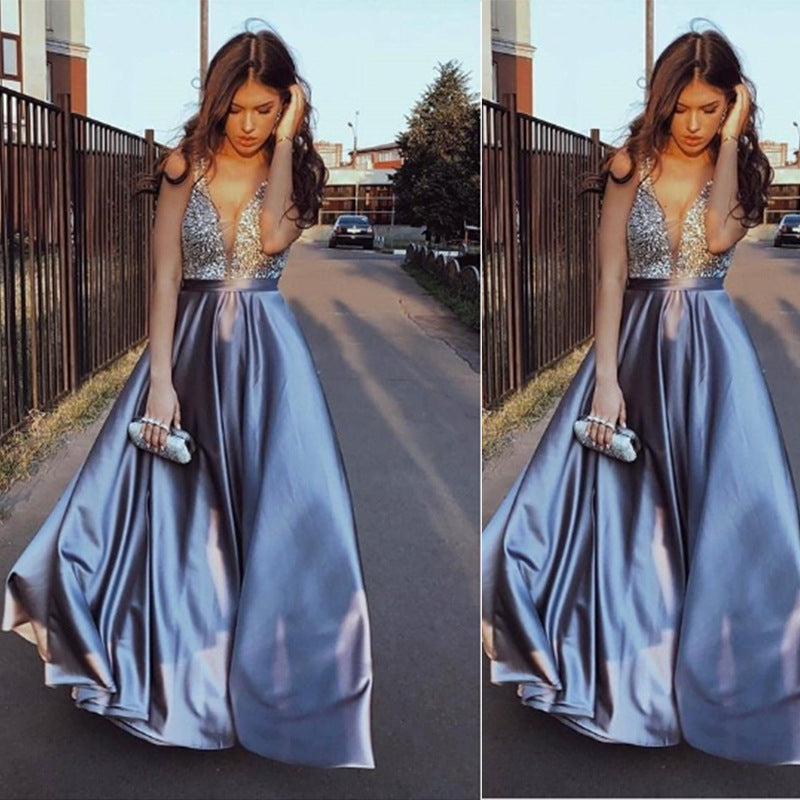 2019 European and American foreign trade new women's dress wish Amazon sexy V-neck sleeveless dress long skirt