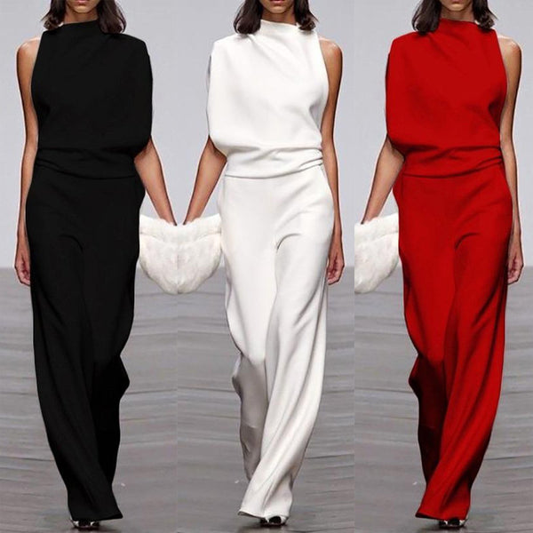 Europe and the United States foreign trade new women's dress ebay Amazon one-shoulder sleeve casual commuter jumpsuit