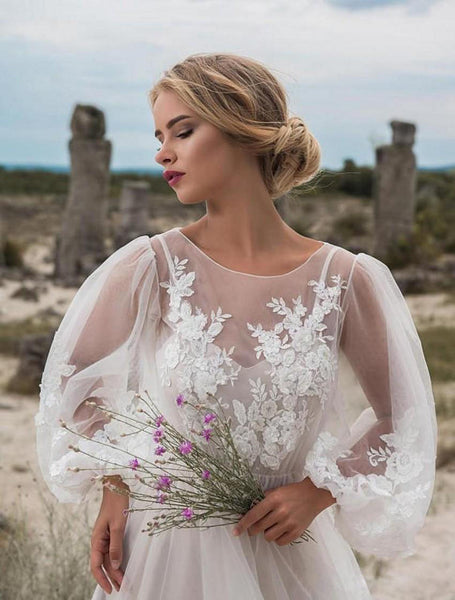 2020 new cross border foreign trade Amazon new cross border round neck bubble sleeve mesh embroidery dress new wedding dress
