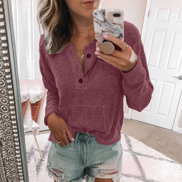 Solid color open button long sleeve top T-shirt
