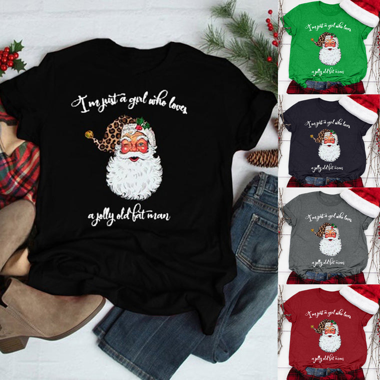 Cross-border Amazon short-sleeved plus-size T-shirt Santa Claus printing simple round neck short-sleeved inside bottoming shirt